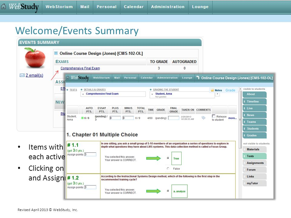 Items with new activity are displayed as links organized by item type for each active course.