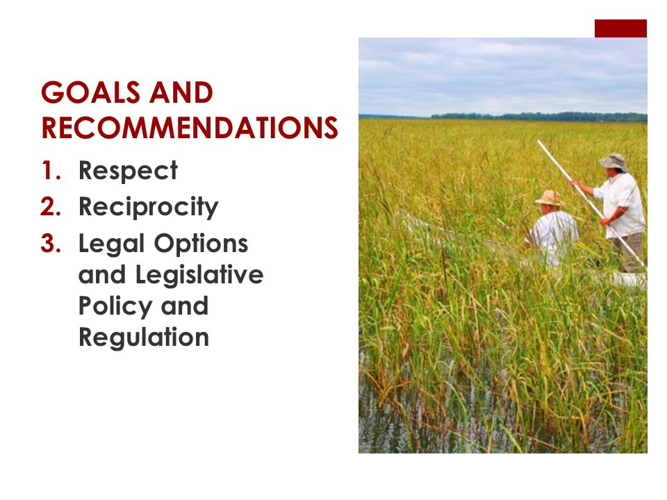 GOALS AND RECOMMENDATIONS 1.Respect 2.Reciprocity 3.Legal Options and Legislative Policy and Regulation