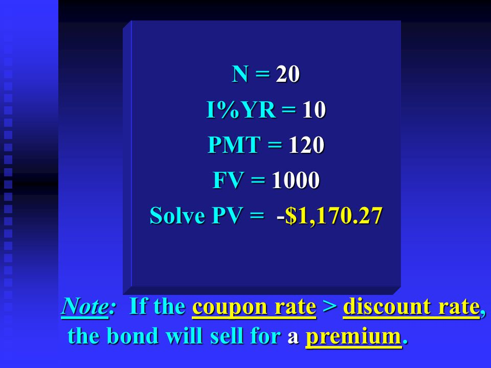 N = 20 I%YR = 10 PMT = 120 FV = 1000 Solve PV = -$1,170.27 Note: If the coupon rate > discount rate, the bond will sell for a premium.