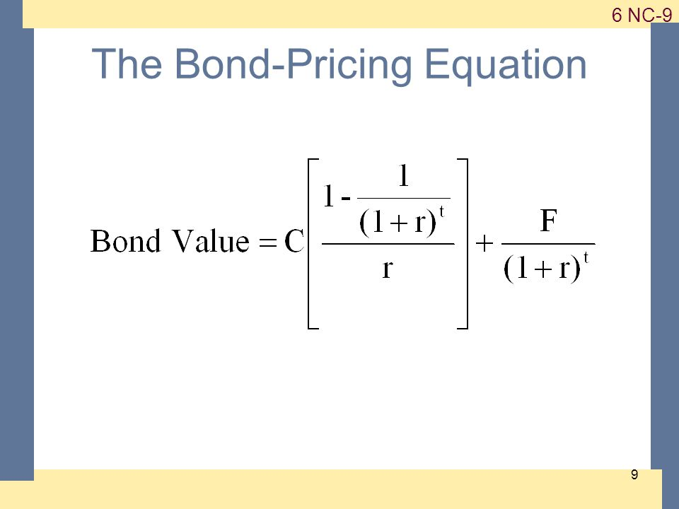 1-9 6 NC-9 9 The Bond-Pricing Equation