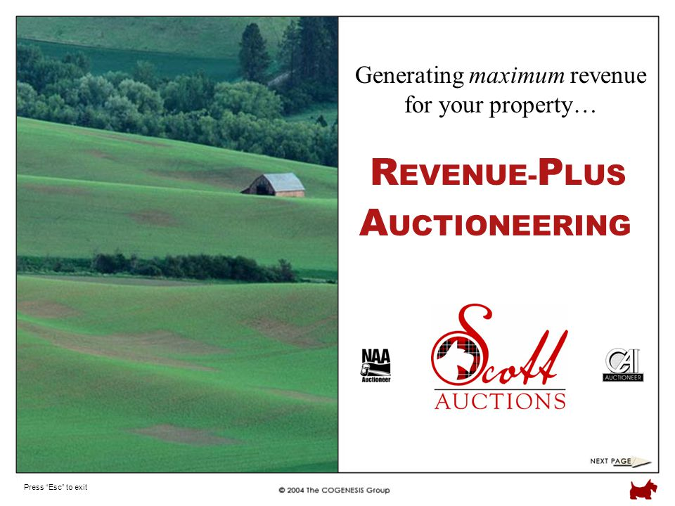 Press Esc to exit R EVENUE- P LUS Generating maximum revenue for your property… A UCTIONEERING