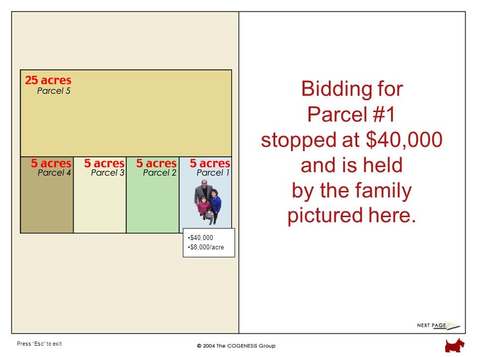 Press Esc to exit Bidding for Parcel #1 stopped at $40,000 and is held by the family pictured here.