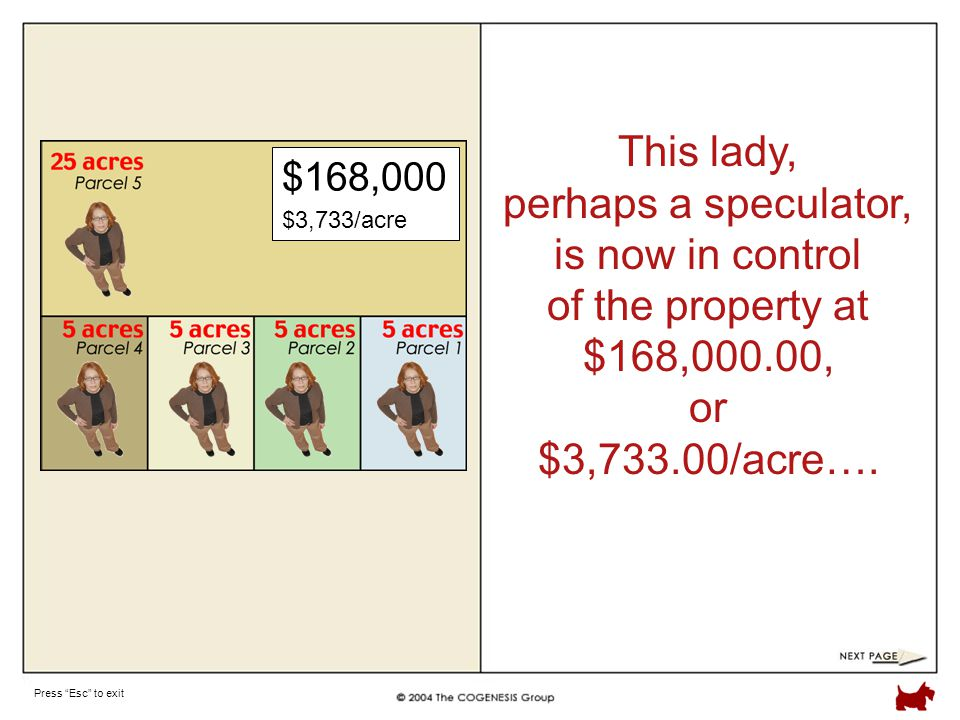Press Esc to exit This lady, perhaps a speculator, is now in control of the property at $168,000.00, or $3,733.00/acre….
