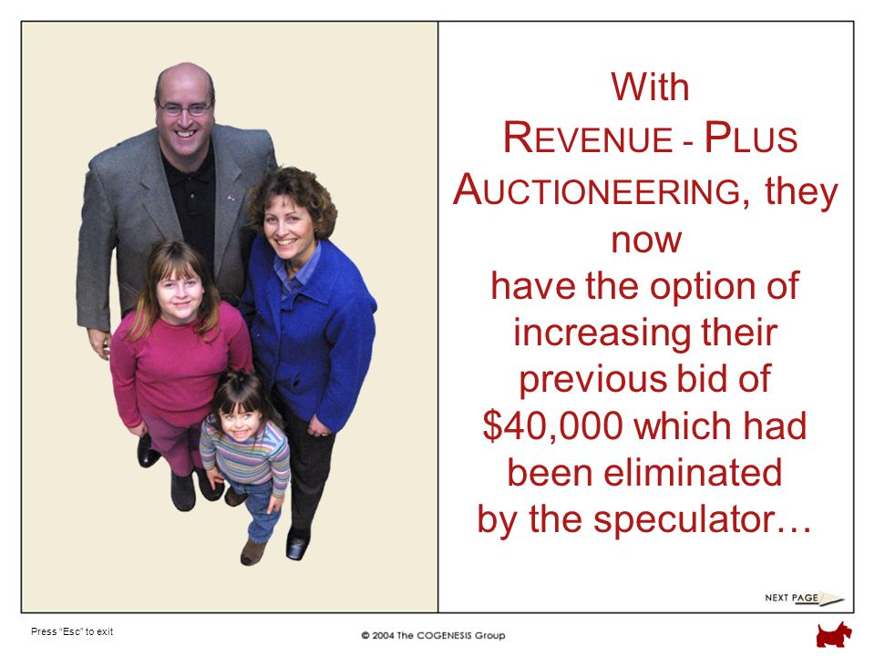 Press Esc to exit With R EVENUE - P LUS A UCTIONEERING, they now have the option of increasing their previous bid of $40,000 which had been eliminated by the speculator…