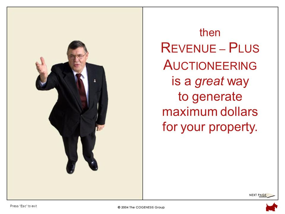 Press Esc to exit then R EVENUE – P LUS A UCTIONEERING is a great way to generate maximum dollars for your property.