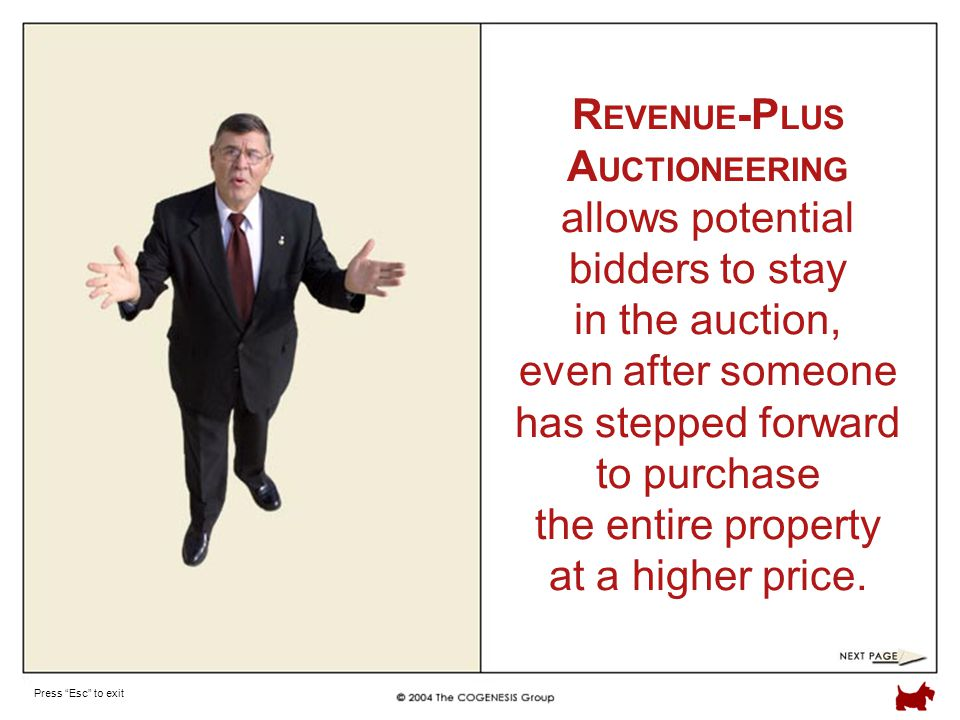 Press Esc to exit R EVENUE -P LUS A UCTIONEERING allows potential bidders to stay in the auction, even after someone has stepped forward to purchase the entire property at a higher price.
