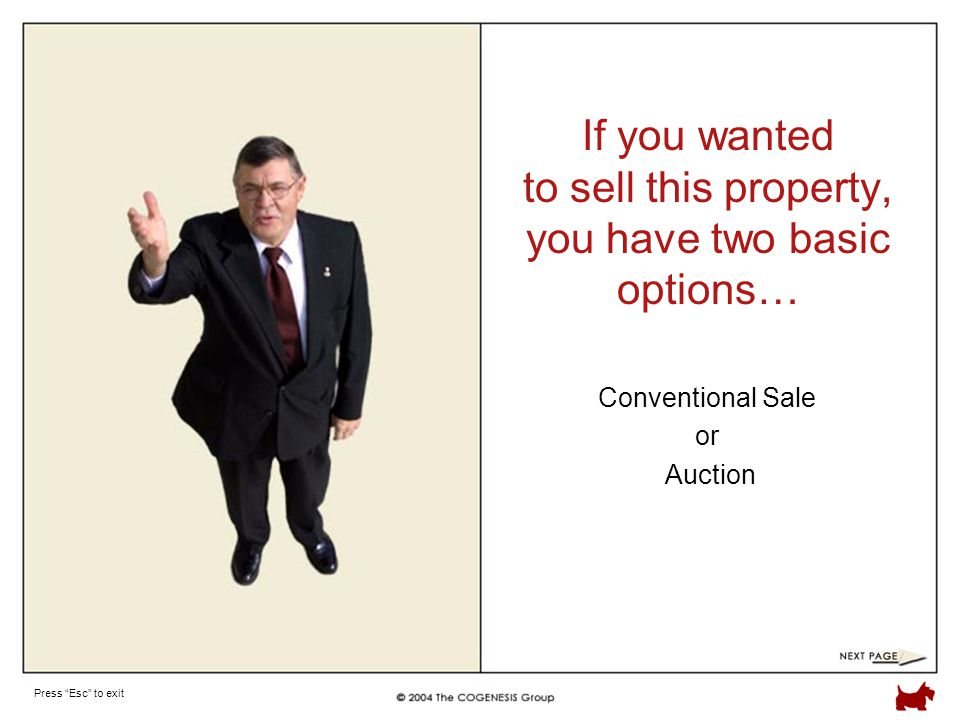 Press Esc to exit If you wanted to sell this property, you have two basic options… Conventional Sale or Auction