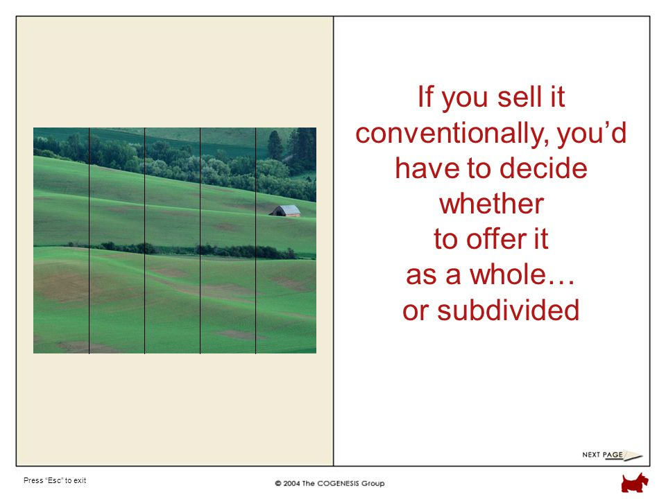 Press Esc to exit If you sell it conventionally, you'd have to decide whether to offer it as a whole… or subdivided