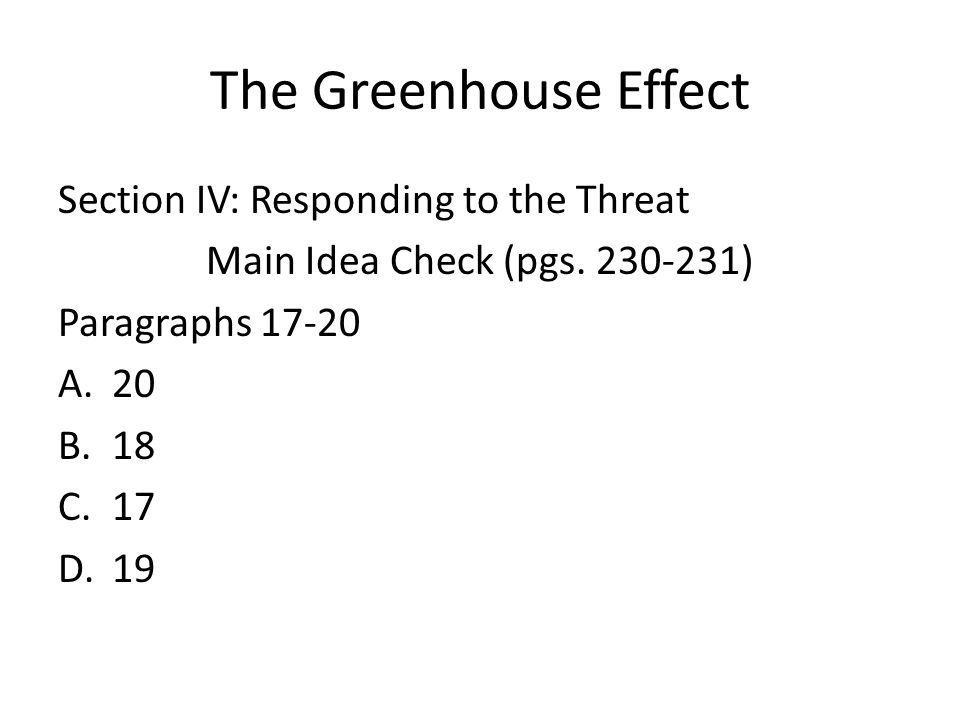 Section IV: Responding to the Threat Main Idea Check (pgs.