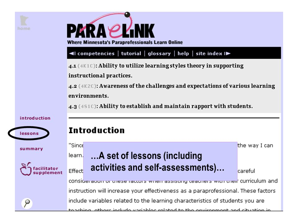 …A set of lessons (including activities and self-assessments)…