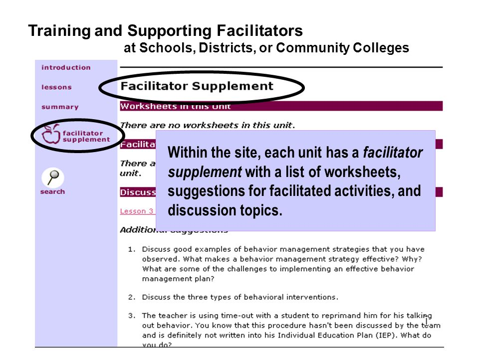 Within the site, each unit has a facilitator supplement with a list of worksheets, suggestions for facilitated activities, and discussion topics.