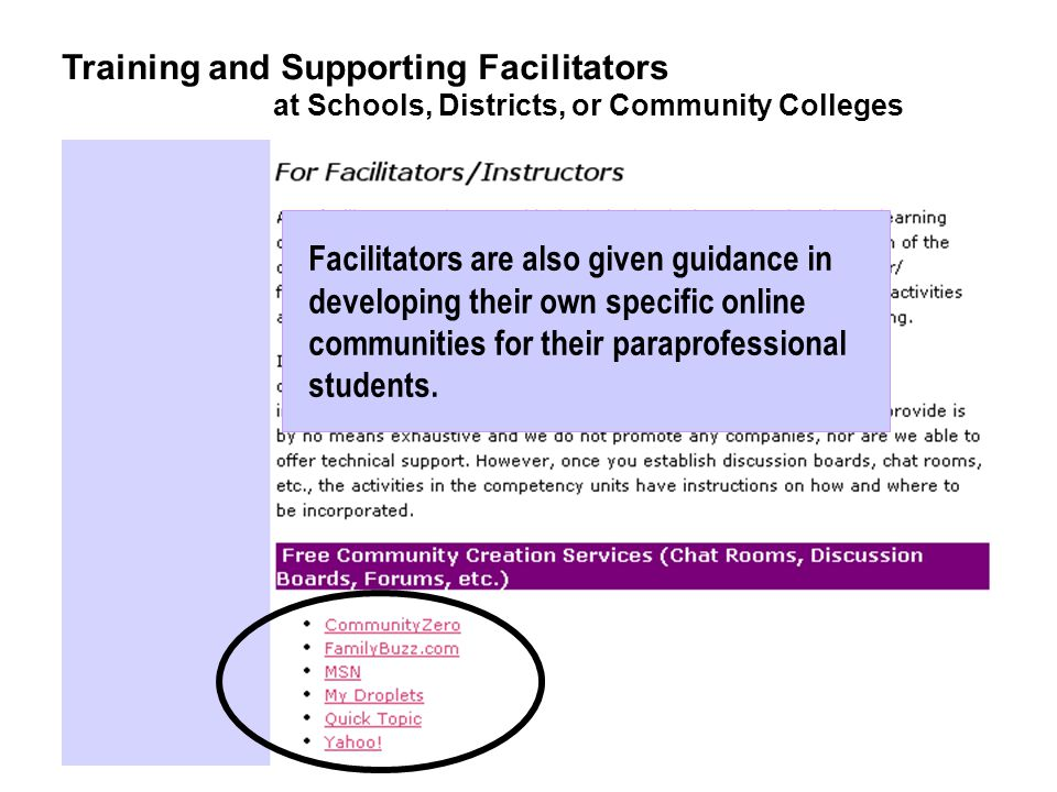 Facilitators are also given guidance in developing their own specific online communities for their paraprofessional students.