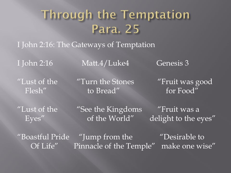 I John 2:16: The Gateways of Temptation I John 2:16 Matt.4/Luke4 Genesis 3 Lust of the Turn the Stones Fruit was good Flesh to Bread for Food Lust of the See the Kingdoms Fruit was a Eyes of the World delight to the eyes Boastful Pride Jump from the Desirable to Of Life Pinnacle of the Temple make one wise
