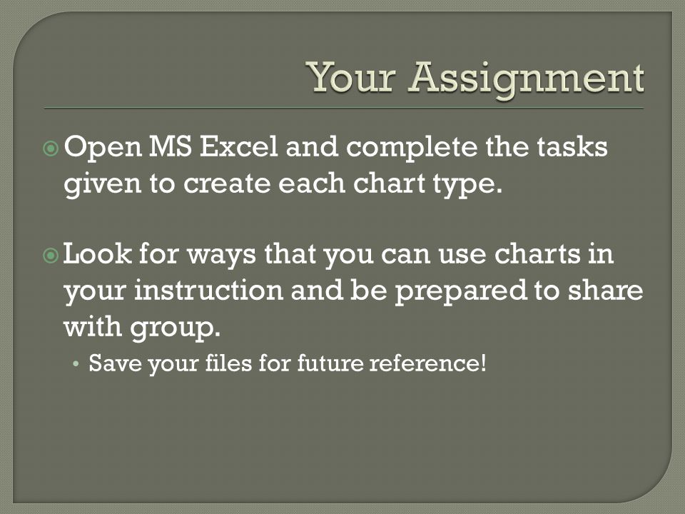 Open MS Excel and complete the tasks given to create each chart type.