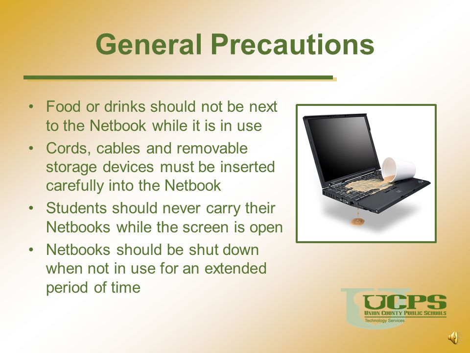 Transporting Netbooks and power supplies should always be within the protective case when carried Other items should not be stored in the carrying case The Netbook should be turned off at the end of each day before placing it in the carrying case