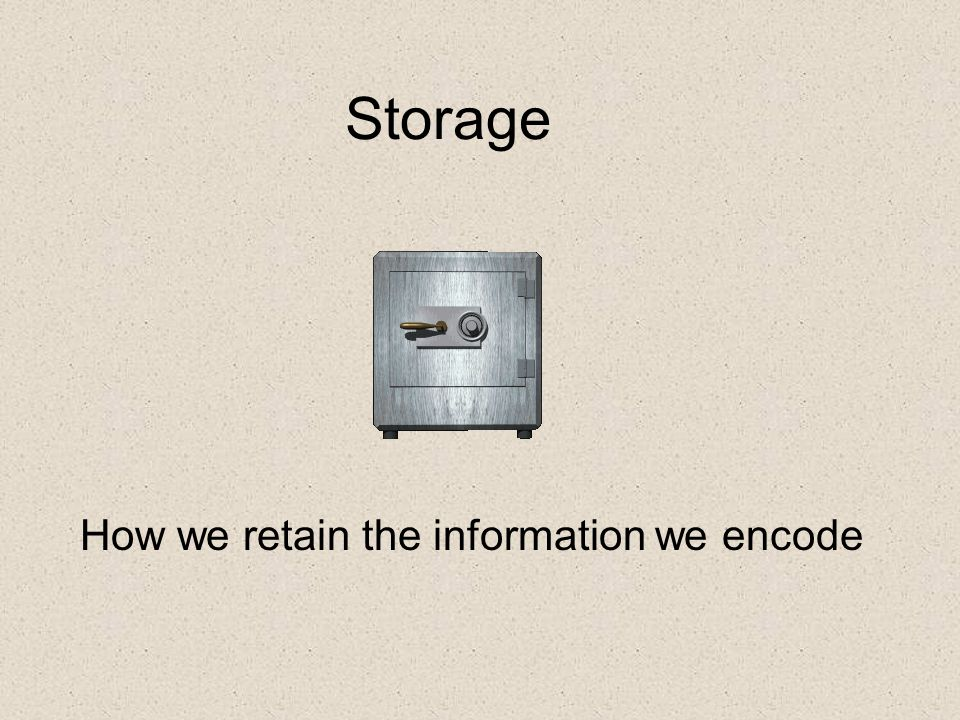 Storage How we retain the information we encode