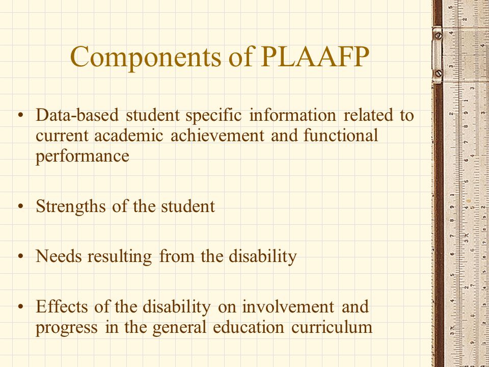 Components of PLAAFP Data-based student specific information related to current academic achievement and functional performance Strengths of the student Needs resulting from the disability Effects of the disability on involvement and progress in the general education curriculum