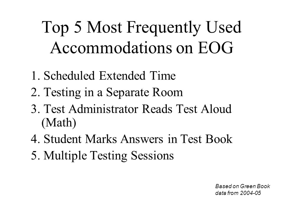 Top 5 Most Frequently Used Accommodations on EOG 1.
