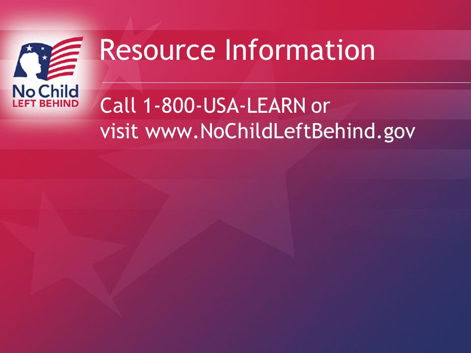 Resource Information Call USA-LEARN or visit