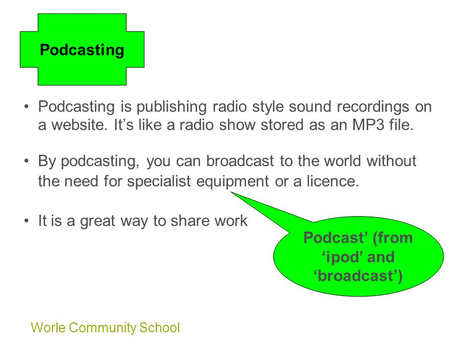 Worle Community School Podcasting is publishing radio style sound recordings on a website.