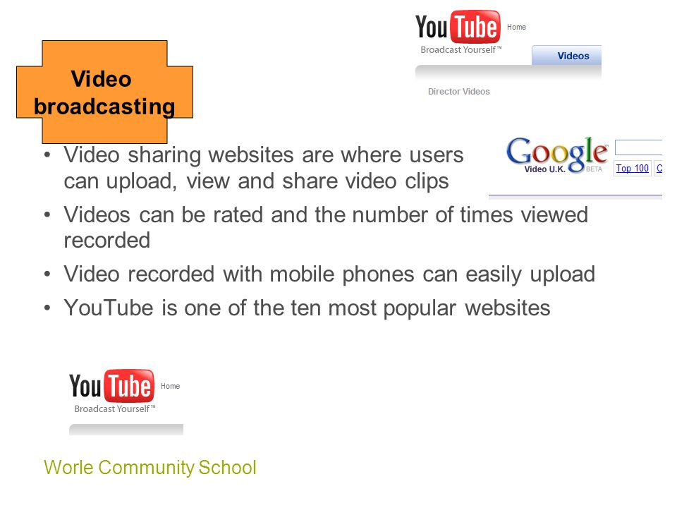 Worle Community School Video broadcasting Video sharing websites are where users can upload, view and share video clips Videos can be rated and the number of times viewed recorded Video recorded with mobile phones can easily upload YouTube is one of the ten most popular websites