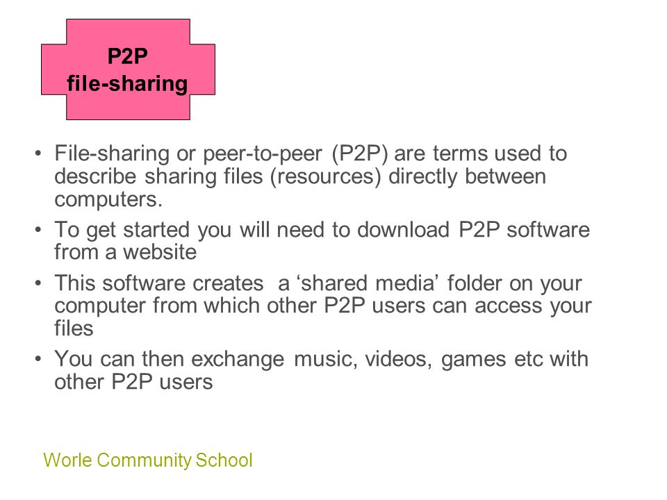 Worle Community School File-sharing or peer-to-peer (P2P) are terms used to describe sharing files (resources) directly between computers.