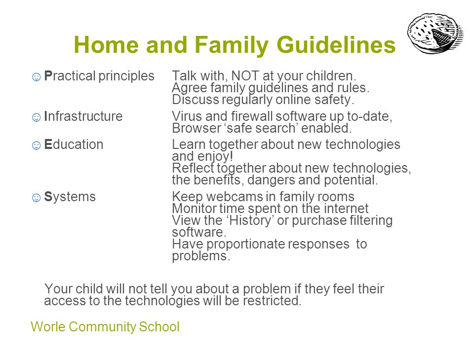 Worle Community School Home and Family Guidelines ☺Practical principles Talk with, NOT at your children.