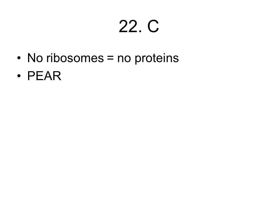 22. C No ribosomes = no proteins PEAR