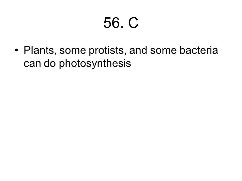 56. C Plants, some protists, and some bacteria can do photosynthesis