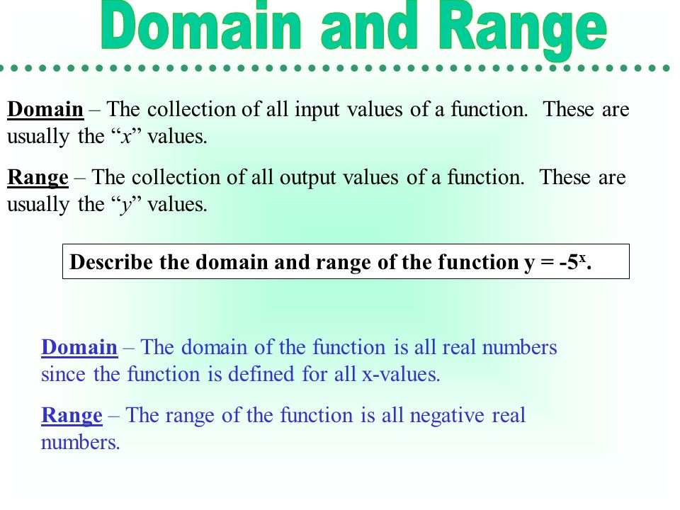 Domain – The collection of all input values of a function.