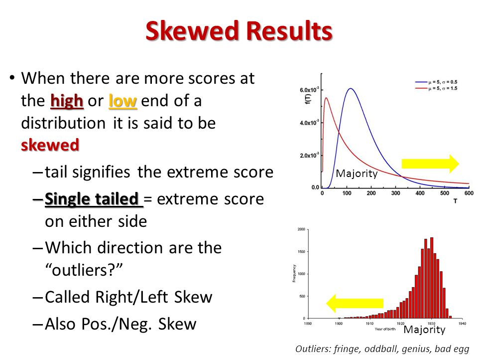 Skewed Results highlow skewed When there are more scores at the high or low end of a distribution it is said to be skewed – tail signifies the extreme score – Single tailed – Single tailed = extreme score on either side – Which direction are the outliers – Called Right/Left Skew – Also Pos./Neg.