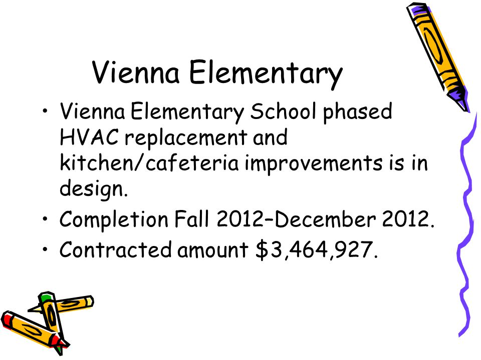Vienna Elementary Vienna Elementary School phased HVAC replacement and kitchen/cafeteria improvements is in design.