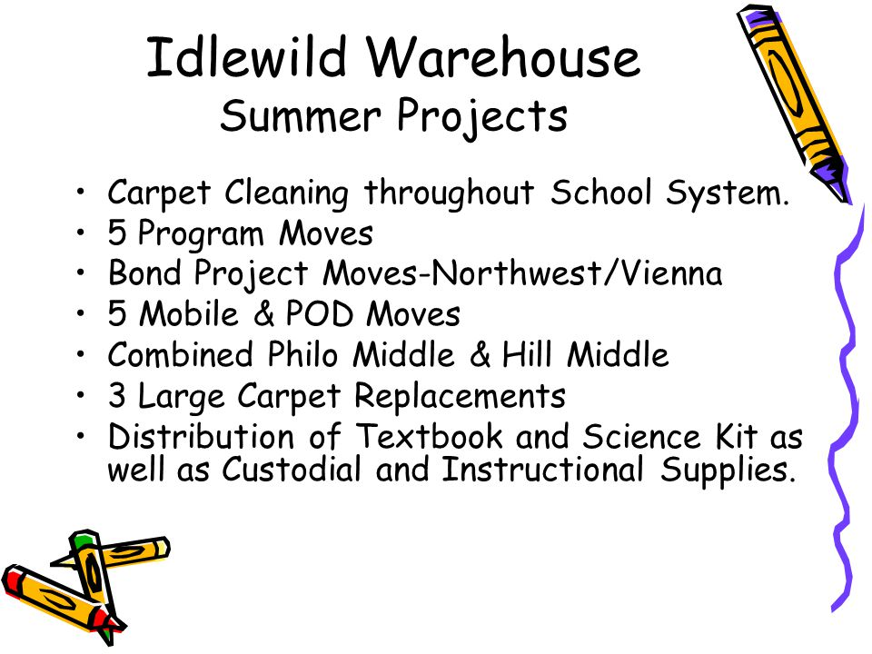 Idlewild Warehouse Summer Projects Carpet Cleaning throughout School System.