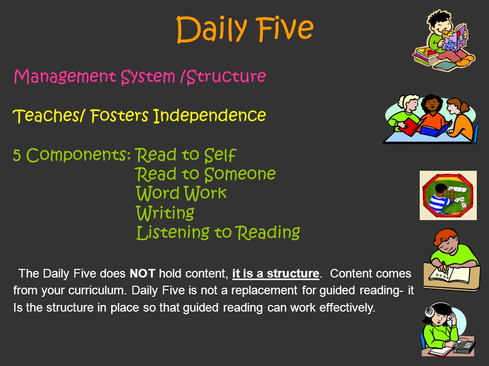 Daily Five Management System /Structure Teaches/ Fosters Independence 5 Components: Read to Self Read to Someone Word Work Writing Listening to Reading The Daily Five does NOT hold content, it is a structure.