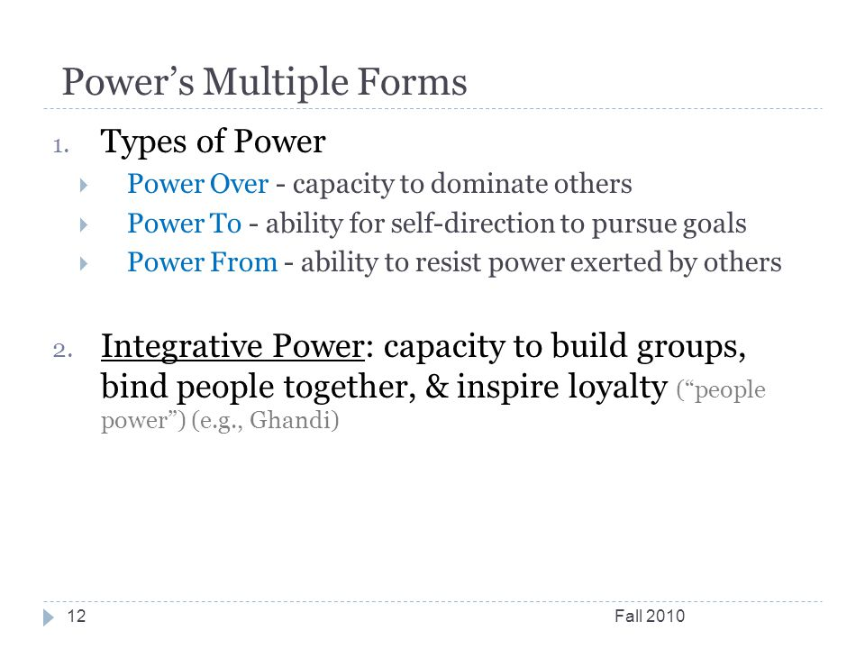 Power's Multiple Forms Fall