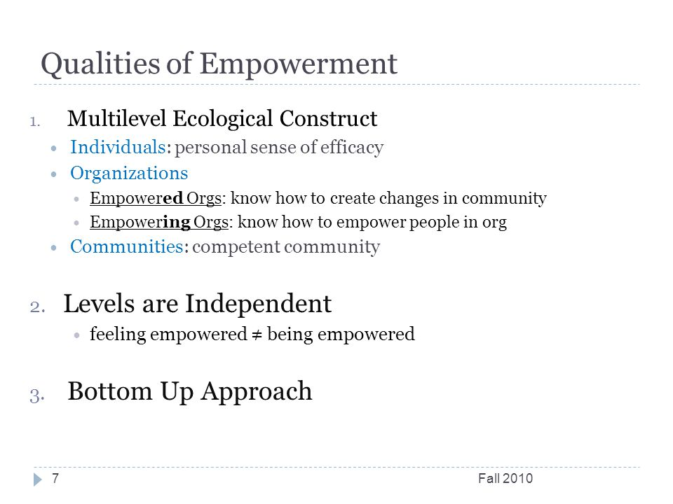 Qualities of Empowerment Fall