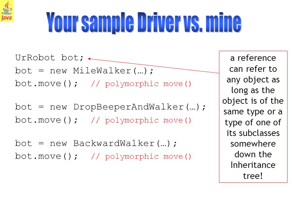 16 UrRobot bot; bot = new MileWalker(…); bot.move(); // polymorphic move() bot = new DropBeeperAndWalker(…); bot.move(); // polymorphic move() bot = new BackwardWalker(…); bot.move(); // polymorphic move() a reference can refer to any object as long as the object is of the same type or a type of one of its subclasses somewhere down the Inheritance tree!