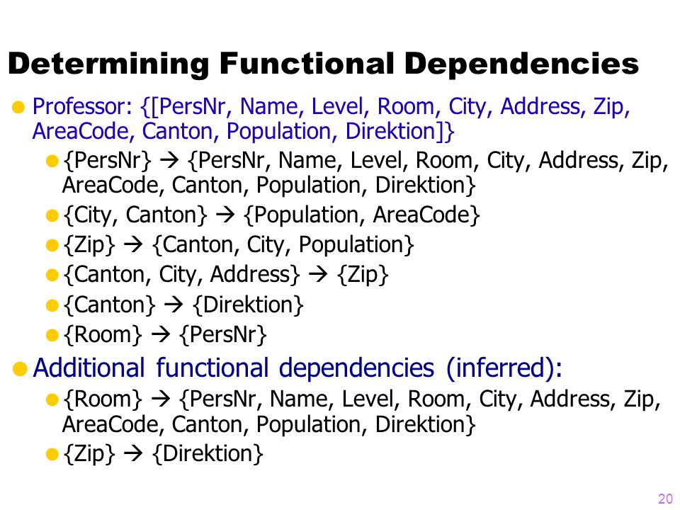 Determining Functional Dependencies  Professor: {[PersNr, Name, Level, Room, City, Address, Zip, AreaCode, Canton, Population, Direktion]}  {PersNr}  {PersNr, Name, Level, Room, City, Address, Zip, AreaCode, Canton, Population, Direktion}  {City, Canton}  {Population, AreaCode}  {Zip}  {Canton, City, Population}  {Canton, City, Address}  {Zip}  {Canton}  {Direktion}  {Room}  {PersNr}  Additional functional dependencies (inferred):  {Room}  {PersNr, Name, Level, Room, City, Address, Zip, AreaCode, Canton, Population, Direktion}  {Zip}  {Direktion} 20
