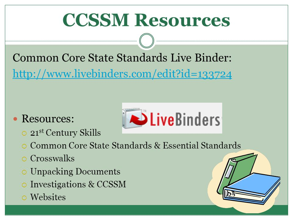 CCSSM Resources Common Core State Standards Live Binder: http://www.livebinders.com/edit id=133724 Resources:  21 st Century Skills  Common Core State Standards & Essential Standards  Crosswalks  Unpacking Documents  Investigations & CCSSM  Websites