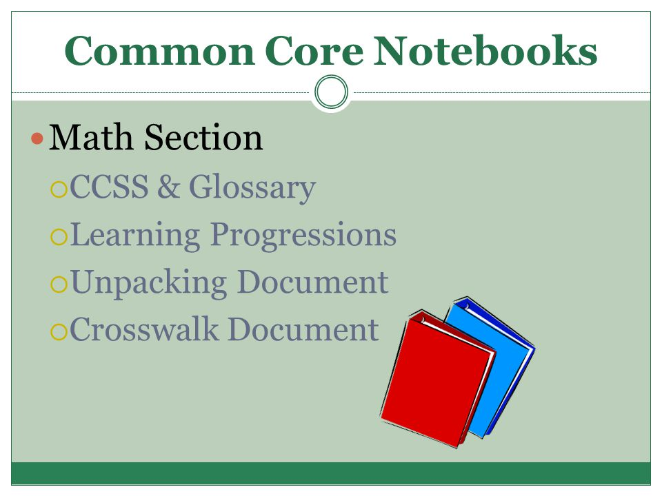 Common Core Notebooks Math Section  CCSS & Glossary  Learning Progressions  Unpacking Document  Crosswalk Document