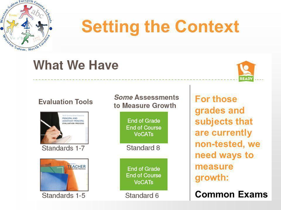 Setting the Context For those grades and subjects that are currently non-tested, we need ways to measure growth: Common Exams