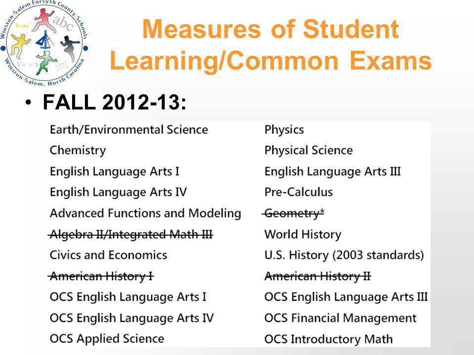 Measures of Student Learning/Common Exams FALL 2012-13: