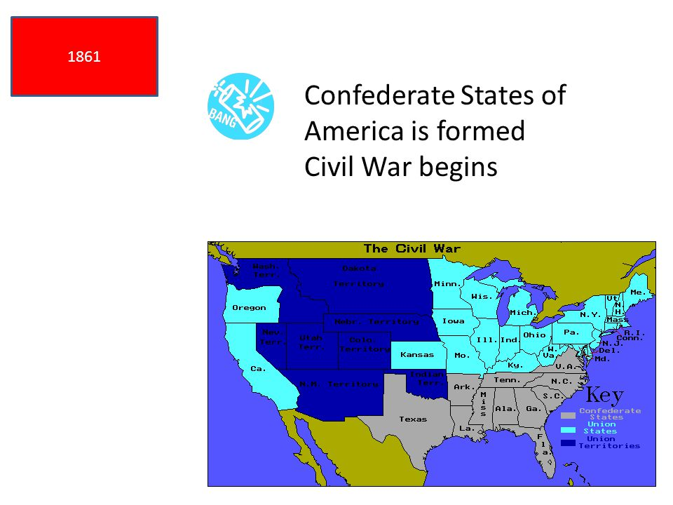 1861 Confederate States of America is formed Civil War begins