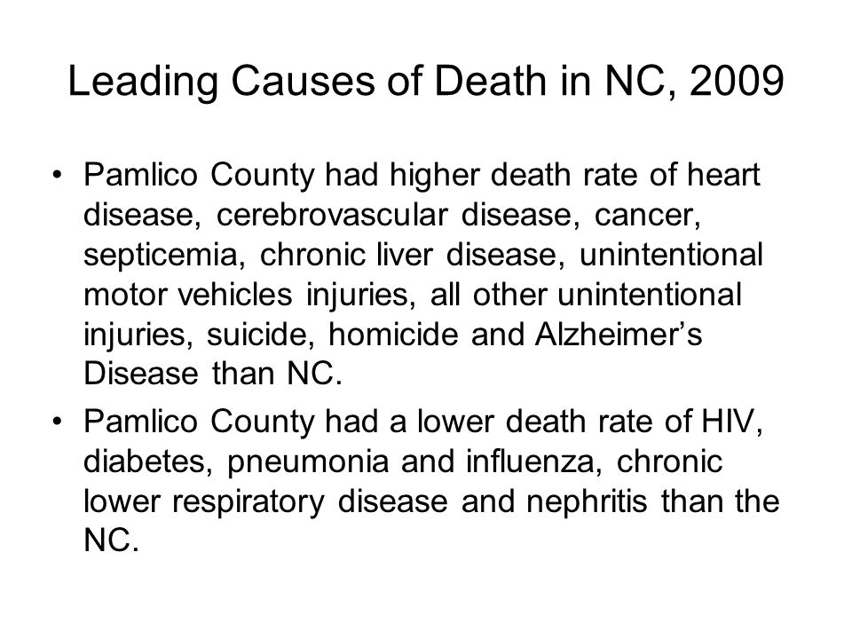 Leading Causes of Death in NC, 2009 Pamlico County had higher death rate of heart disease, cerebrovascular disease, cancer, septicemia, chronic liver disease, unintentional motor vehicles injuries, all other unintentional injuries, suicide, homicide and Alzheimer's Disease than NC.
