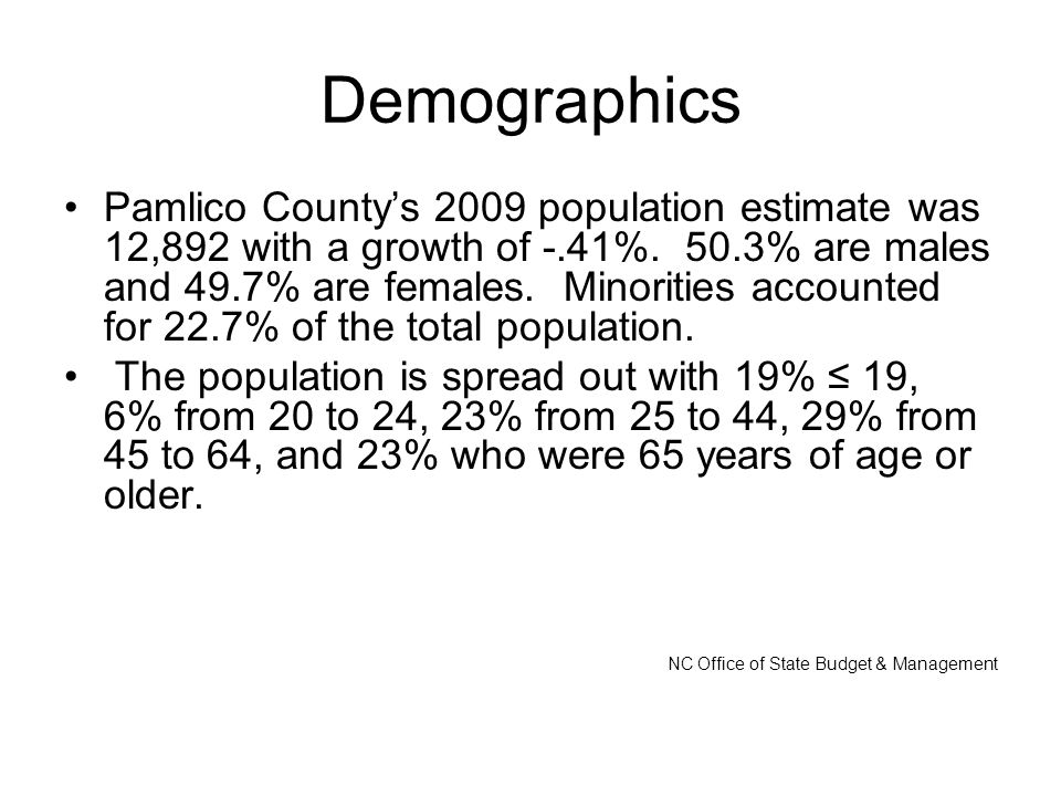 Demographics Pamlico County's 2009 population estimate was 12,892 with a growth of -.41%.