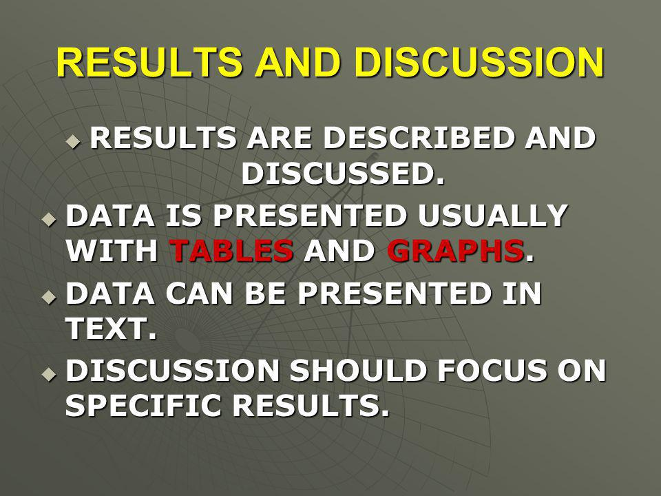 RESULTS AND DISCUSSION  RESULTS ARE DESCRIBED AND DISCUSSED.