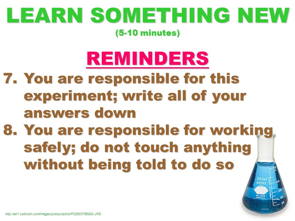LEARN SOMETHING NEW (5-10 minutes) REMINDERS 7.You are responsible for this experiment; write all of your answers down 8.You are responsible for working safely; do not touch anything without being told to do so http://ak1.ostkcdn.com/images/products/bnt/FC0803786824.JPG