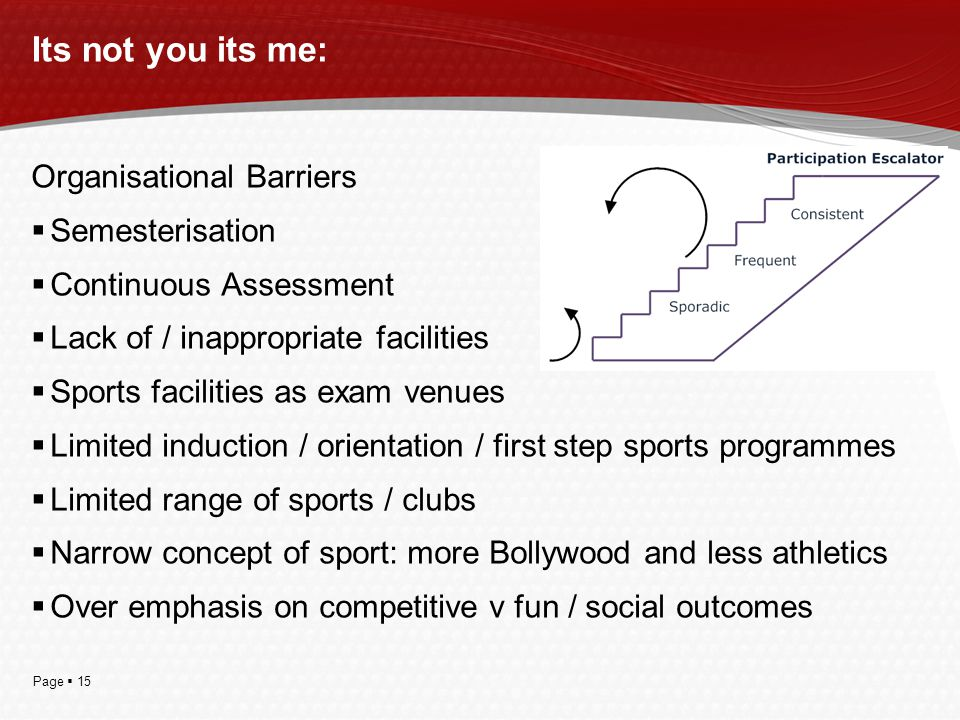 Page  15 Its not you its me: Organisational Barriers  Semesterisation  Continuous Assessment  Lack of / inappropriate facilities  Sports facilities as exam venues  Limited induction / orientation / first step sports programmes  Limited range of sports / clubs  Narrow concept of sport: more Bollywood and less athletics  Over emphasis on competitive v fun / social outcomes