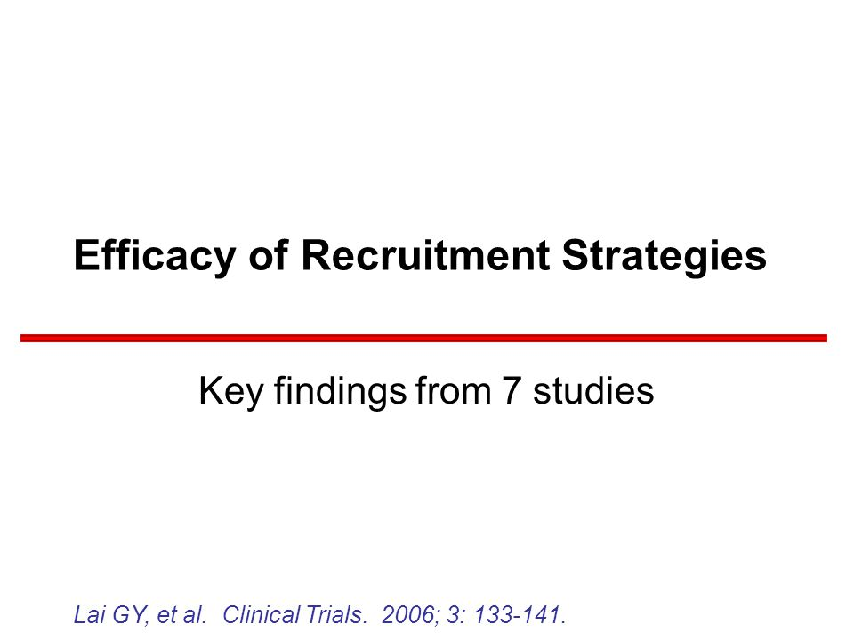 Efficacy of Recruitment Strategies Key findings from 7 studies Lai GY, et al.