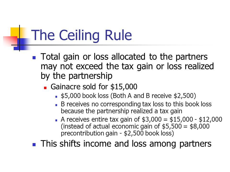 The Ceiling Rule Total gain or loss allocated to the partners may not exceed the tax gain or loss realized by the partnership Gainacre sold for $15,000 $5,000 book loss (Both A and B receive $2,500) B receives no corresponding tax loss to this book loss because the partnership realized a tax gain A receives entire tax gain of $3,000 = $15,000 - $12,000 (instead of actual economic gain of $5,500 = $8,000 precontribution gain - $2,500 book loss) This shifts income and loss among partners